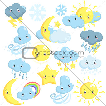 Cute weather icons collection with sun, moon, clouds, star, snowflakes, rain