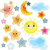 Funny cute stars on transparent background clip art with moon and cloud