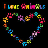 I love animals card with colorful paw prints heart frame