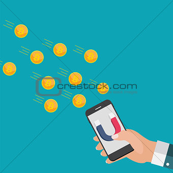Business concept of hand hold mobile phone with magnet attract bitcoins.Vector Illustration