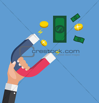 Business concept of hand hold magnet attract money. Vector Illustration