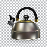 Naturalistic Silhouette of Teapot with whistle on White Background. Vector Illustration