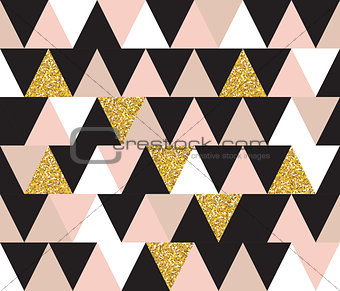 Abstract Geometric Seamless Pattern Background with Glitter Elements. Textile or Wallpaper Template. Vector Illustration