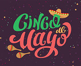 Cinco de Mayo Mexican holiday text banner for greeting card