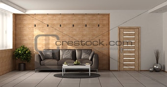 Modern living room with wooden walls