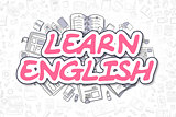 Learn English - Cartoon Magenta Text. Business Concept.