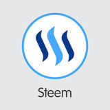 Steem Coin - Cryptocurrency Logo.