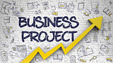 Business Project Drawn on White Wall.