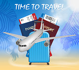 World travel and tourism concept. Banner in tourism theme with airplane on palm beach summer background. Travel agency advertisement airplane poster design. Vector Illustration