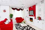 Classical red living room interior with fire place, red furnitur