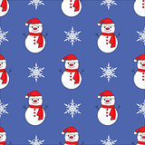 Cute snowman blue seamless pattern background