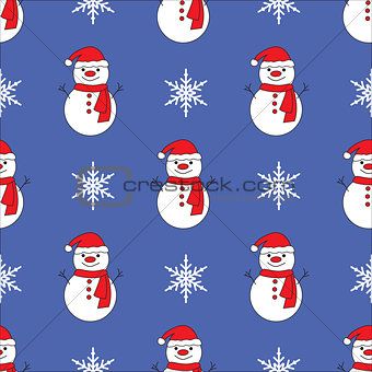 Cute snowman blue seamless pattern background