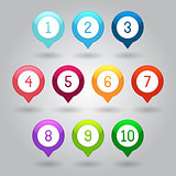 Map markers with numbers vector eps10 illustration