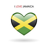 Love Jamaica symbol. Flag Heart Glossy icon on a white background