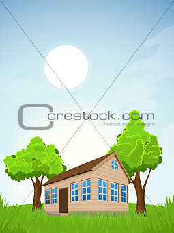 Rural summer landscape with house