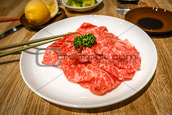 Kobe wagyu beef slices