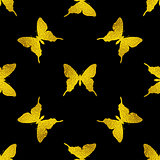 Pattern with golden butterflies