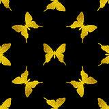 Pattern with golden butterflies