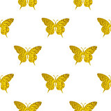 Seamless pattern with golden butterflies