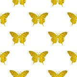 Seamless pattern with golden butterflies