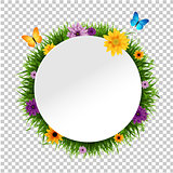Banner With Grass Border Isolated Background