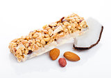Coconut protein cereal energy bar with almonds