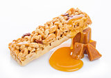 Caramel protein cereal energy bar with toffee