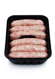 Plastic tray of raw pork beef sausages isolated