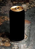 Aluminium can of stout beer top with on stone