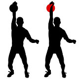 Silhouette muscular man holding kettle bell.  Vector illustration.
