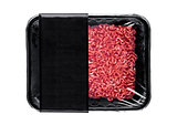 Plastic tray with raw fresh beef minced meat