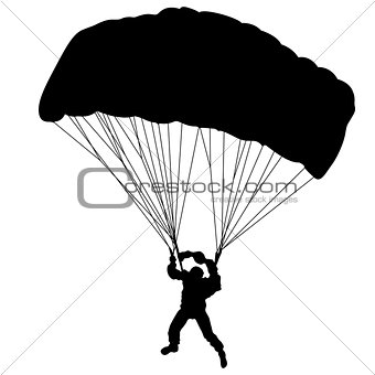 Skydiver, silhouettes parachuting vector illustration.
