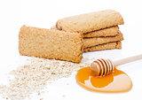 Healthy bio breakfast grain biscuits with honey