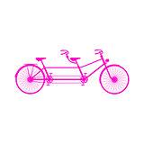 Retro tandem bicycle in pink design