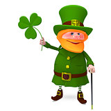 3D Illustration of Saint Patrick with Clover
