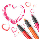 Hearts drawn by a marker.