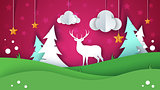 Cartoon paper summer landscape. Deer, star, cloud, fir, hill, grass.