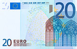 Close-up of part 20 euro banknote.