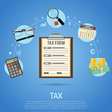 Tax Calculation, Payment, Accounting, Paperwork Concept