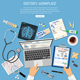 Doctors Workplace and Medical Diagnostics Concept