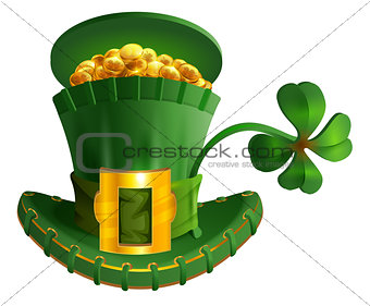 Green hat full gold coin and luck leaf clover. St. Patrick's Day symbol accessory