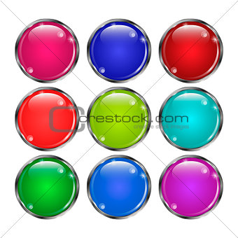 Set of glass round buttonsin  in a silver frame.