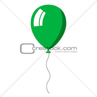 Green balloon on white background