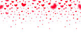 Lovely red falling hearts in focus and in defocus on white background, an excellent frame for greeting cards, valentines, wedding invitations. Vector seamless pattern love party template.