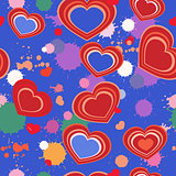 seamless background with hearts and splashes