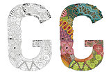 Letter G zentangle for coloring. Vector decorative object