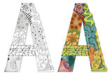 Letter A zentangle for coloring. Vector decorative object