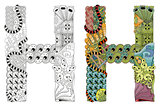 Letter H zentangle for coloring. Vector decorative object