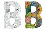 Letter B zentangle for coloring. Vector decorative object