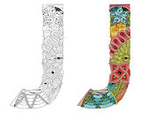 Letter J zentangle for coloring. Vector decorative object